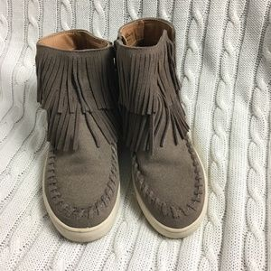 Target Suede Ankle Booties with Fringe Size 6